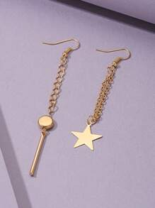 Star & Bar Drop Mismatched Earrings