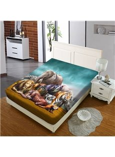 The Wild Animals on The Grassland Reactive Printing 1-Piece Polyester Bed Cover / Mattress Cover