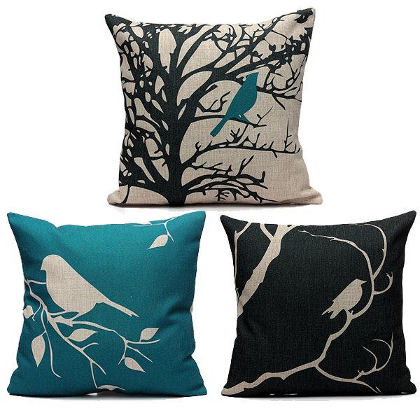 45X45cm Bird Vintage Linen Cotton Cushion Cover Sofa Home Decor Pillowcase