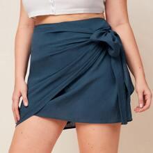 Plus Zipper Side Wrap Knot Skirt
