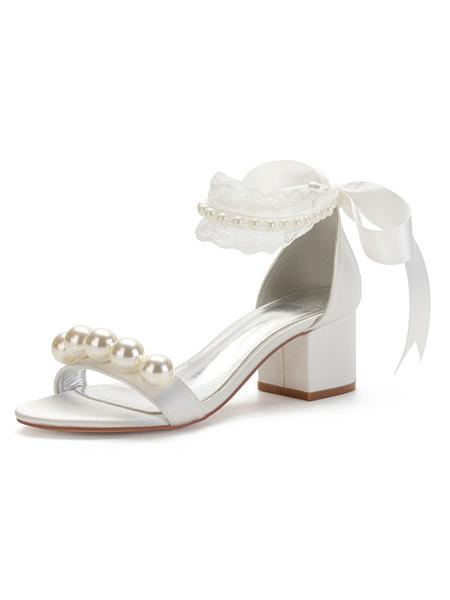 Milanoo Wedding Shoes White Satin Bows Pointed Toe Chunky Heel Bridal Shoes