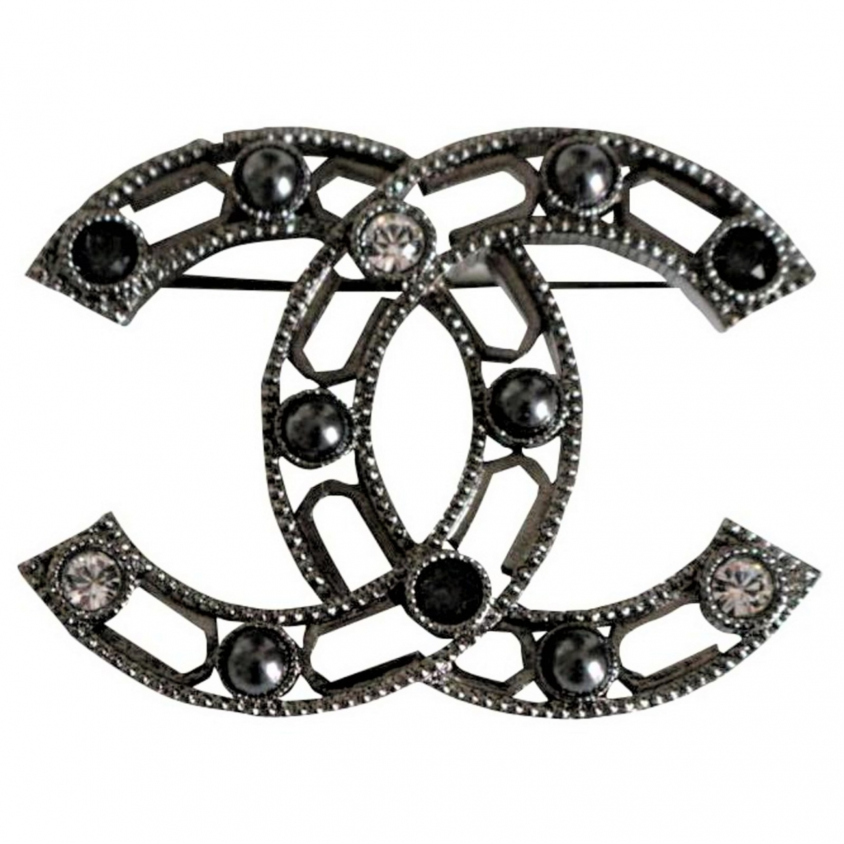 Chanel CC Anthracite Metal Pins & brooches for Women \N