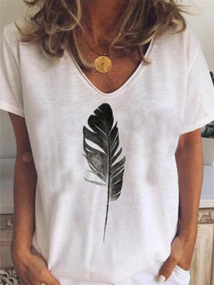 Feather V-neck Printed Short-sleeved T-shirt For Women