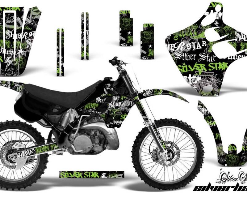 AMR Racing Dirt Bike Graphics Kit Decal Wrap For Kawasaki KX125 | KX250 1990-1991áSSSH GREEN BLACK