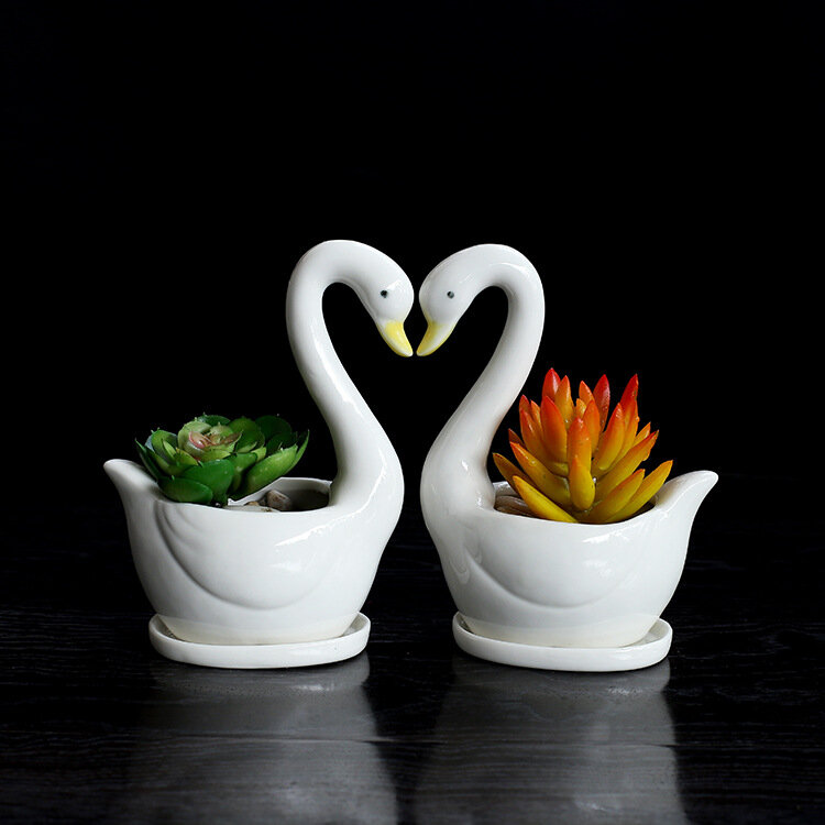 Swan Pottery Pots Vase Handmade Ceramic Flower Plant Bottle Pot Garden DecorOffice Fashion Home