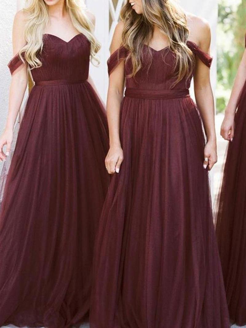 Ericdress Pleats Off-The-Shoulder A-Line Bridesmaid Dress