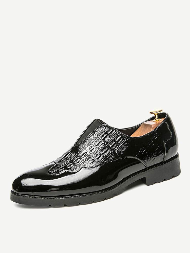 Men Leather Splicing Slip Resistant Slip On Formal Dress Shoes