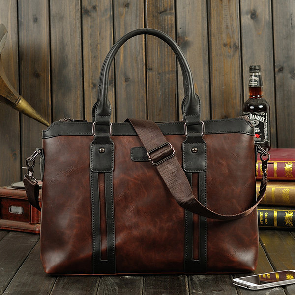 Men PU Leather Briefcase Business Laptop Bag Vintage Handbag