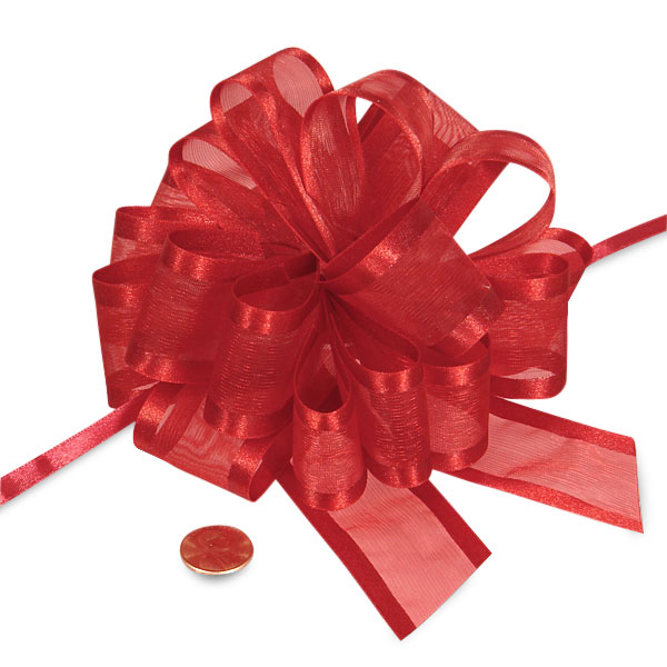 Red Sheer Pull Bow with Satin Edges 4