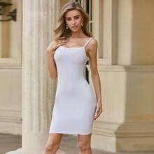 Sesidy Zip Back Solid Bandage Dress