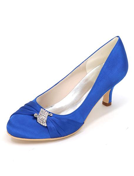 Milanoo Silver Wedding Shoes Kitten Heel Pleated Rhinestone Slip-on Bridal Shoes