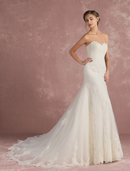 Milanoo Mermaid Wedding Dress Sweetheart Strapless Bridal Dress Backless Ivory Lace Applique Tulle Luxury Bridal Gown With Train