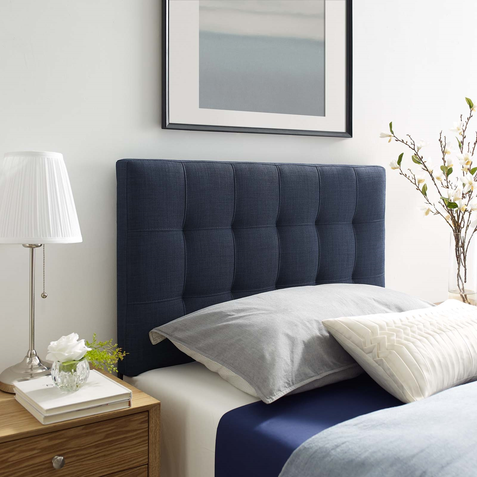 Lily Twin Upholstered Fabric Headboard in Navy