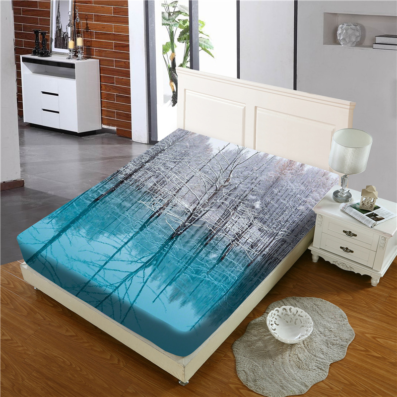 Light Blue Branch and Lake Reactive Printing 1-Piece Polyester Bed Cover / Mattress Cover