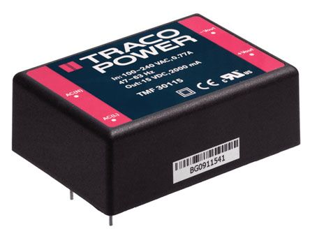 TRACOPOWER , 30W Encapsulated Switch Mode Power Supply, 15V dc, Encapsulated, Medical Approved