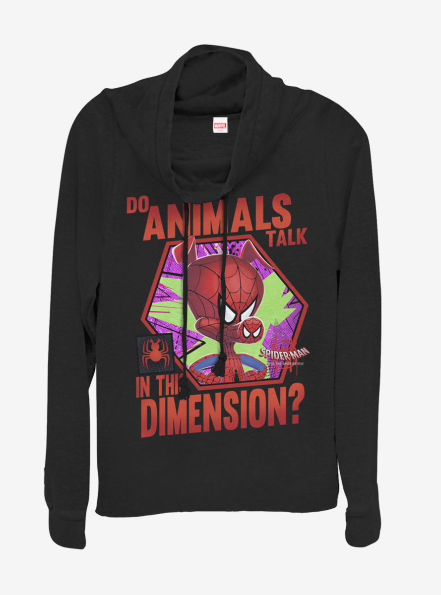 Marvel Spider-Man Animals Talk Cowlneck Long-Sleeve Womens Top