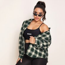 Plus Plaid Print Curved Hem Blouse
