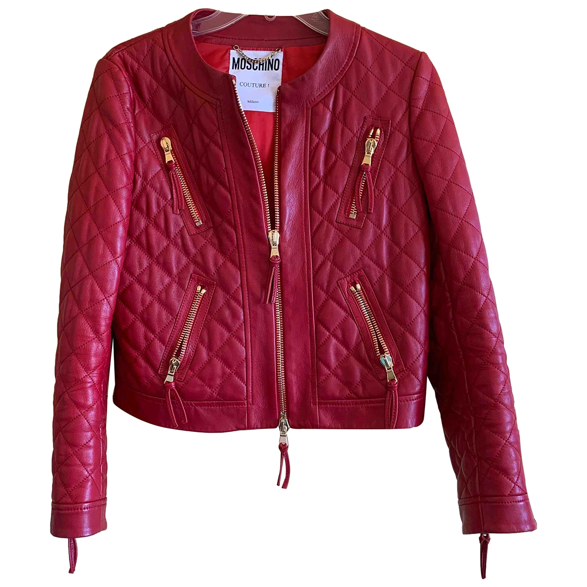 Moschino \N Red Leather jacket for Women 40 IT