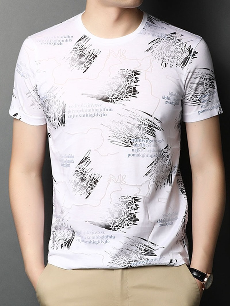 Ericdress Print Casual Round Neck Pullover Short Sleeve T-shirt