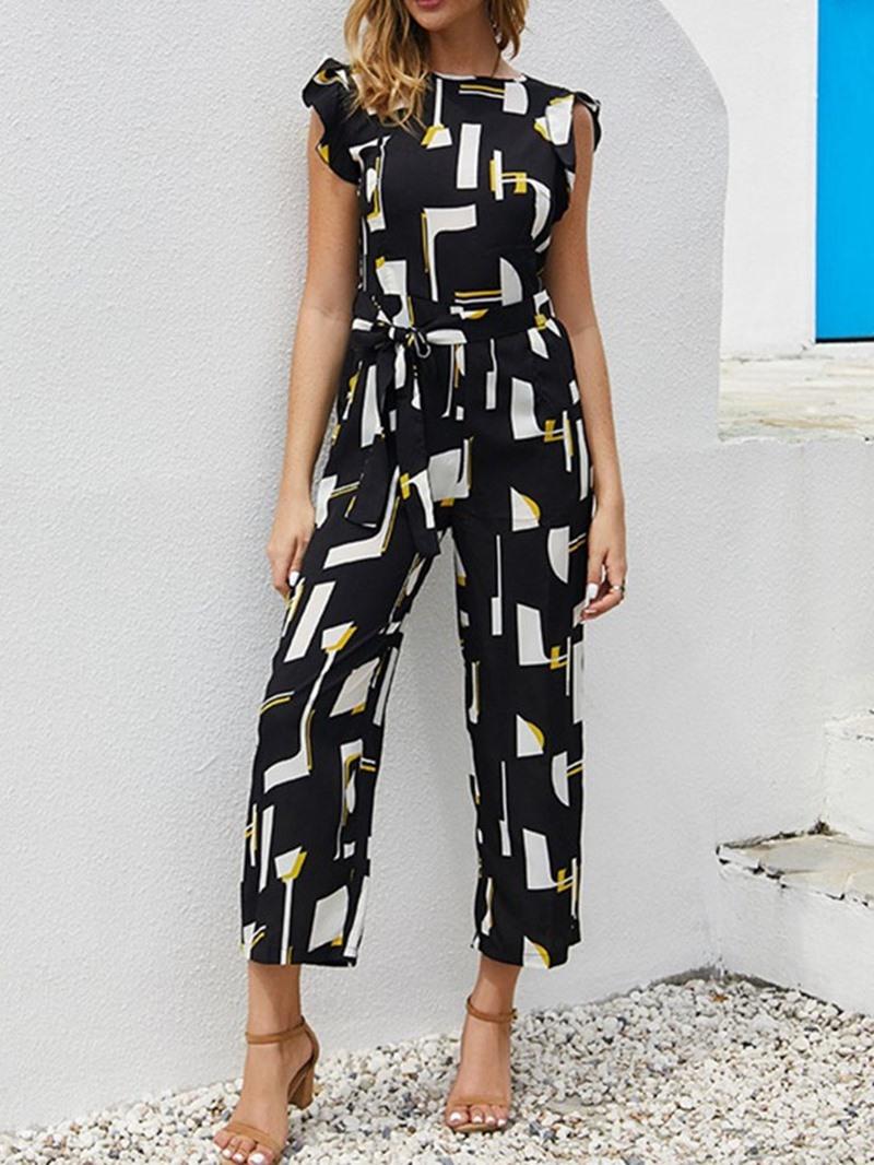 Ericdress Fashion Print Mid-Calf High Waist Loose Jumpsuit