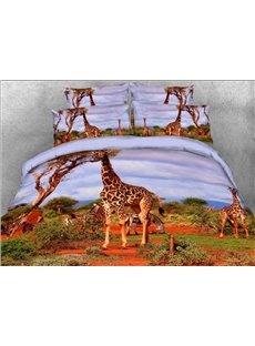Vivilinen 3D Giraffe and Zebra Safari Style 4-Piece Bedding Sets/Duvet Covers