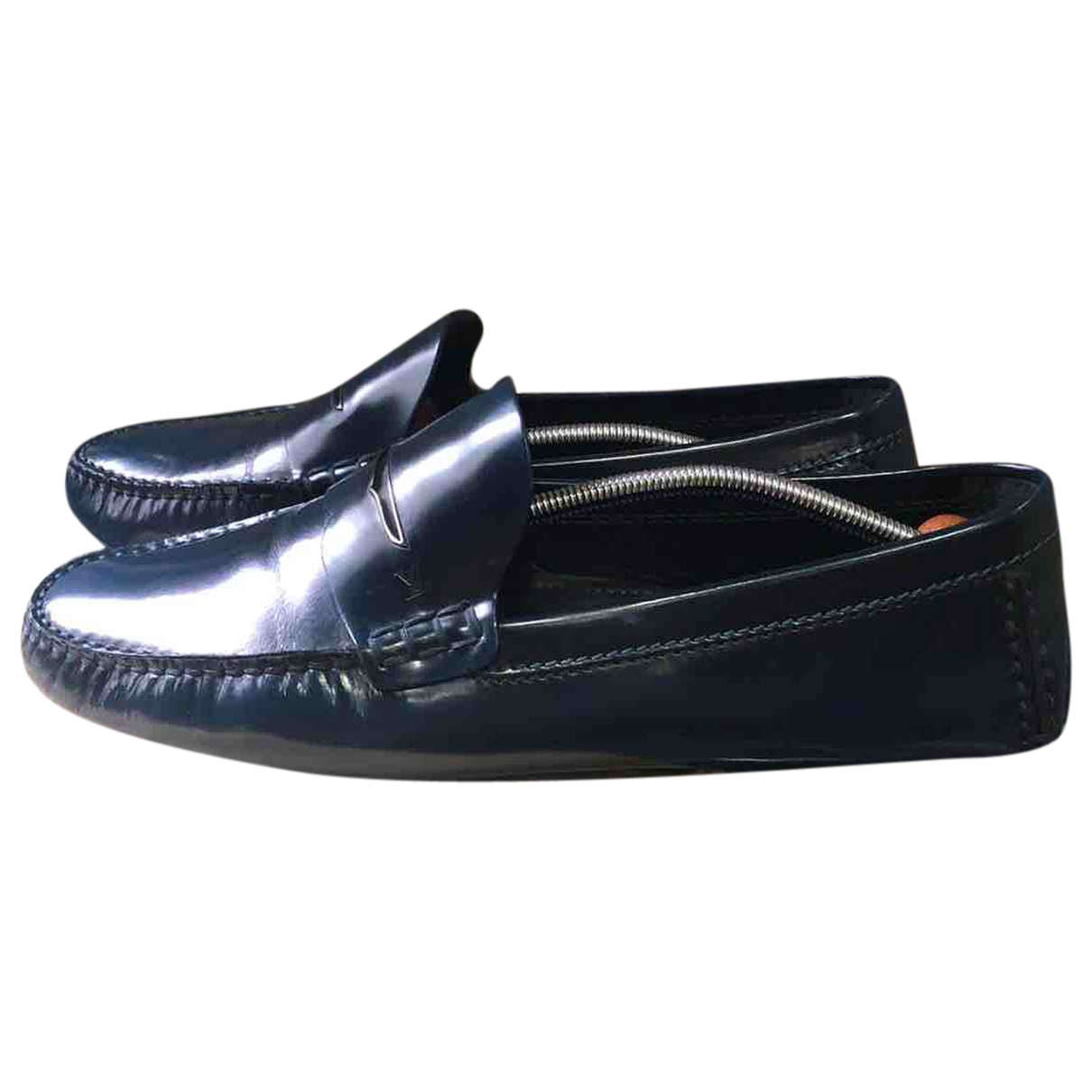 Louis Vuitton Montaigne Navy Leather Flats for Men 44 EU
