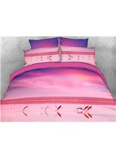 Crane with Open Wings in Lake Printed 4-Piece 3D Bedding Sets/Duvet Covers