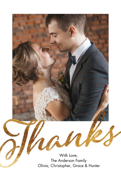 Wedding Thank You 5x7 Cards, Premium Cardstock 120lb with Scalloped Corners, Card & Stationery -Thank You Script Gold