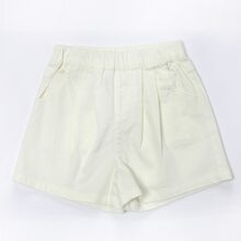 Girls Solid Elastic Waist Shorts