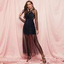 Lace Detail Dobby Mesh Overlay Glitter Dress