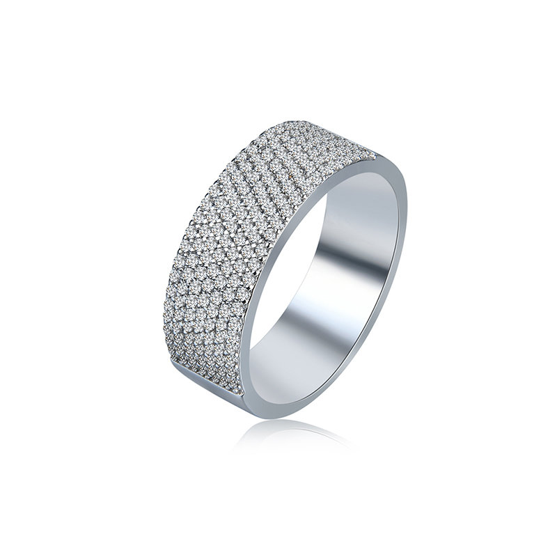 Women's Simple Ring Full Zircon Platinum Ring