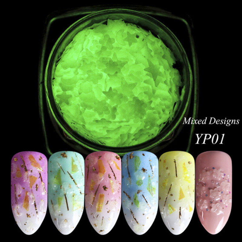 Nail Luminous Stickers Strong Light Absorption Star Moon Nail Sequins DIY Nail Art Decoration