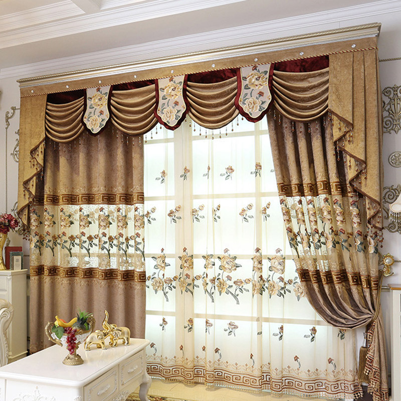 Vintage Embroidered Custom 2 Panels Living Room Sheer Curtains Breathable Voile Drapes No Pilling No Fading No off-lining