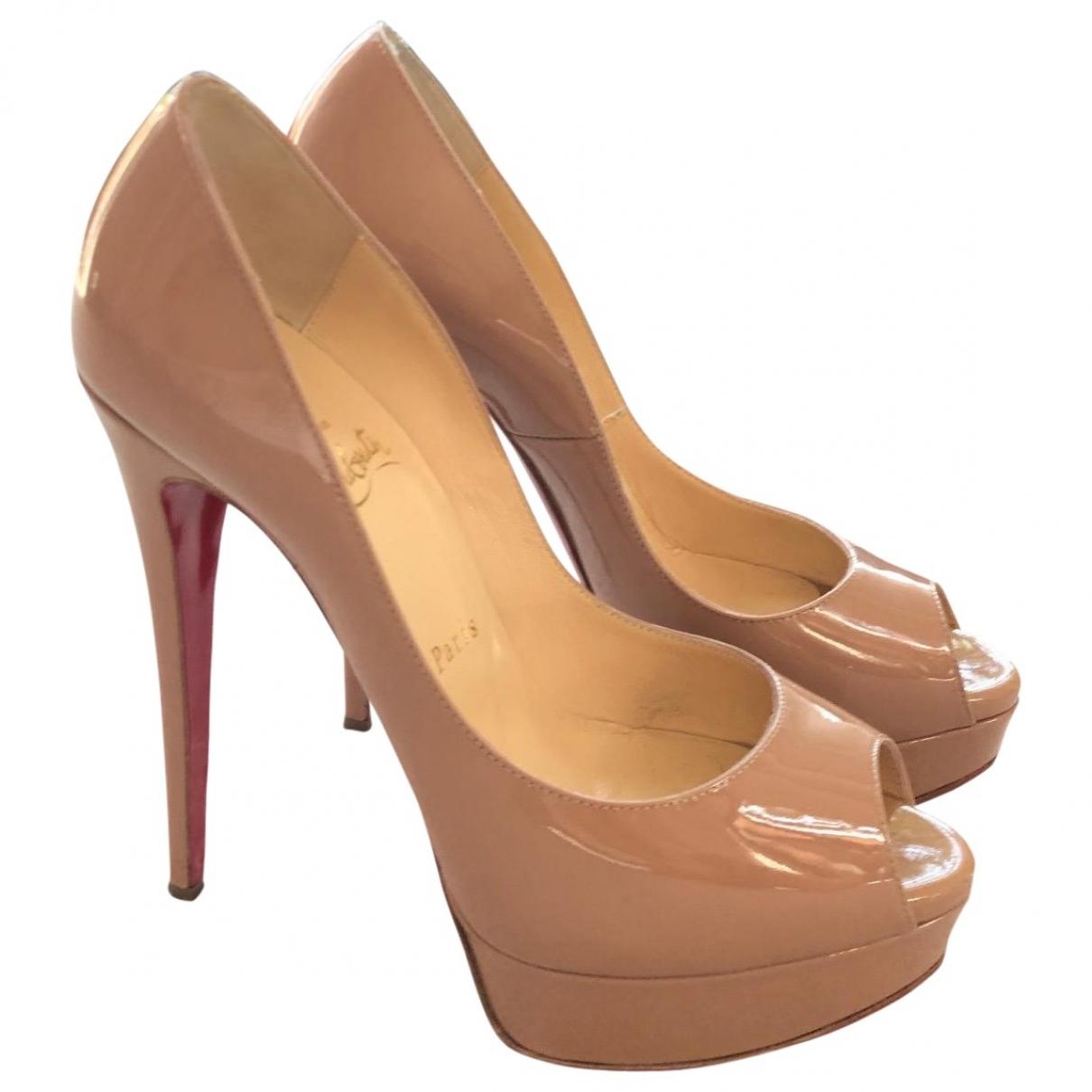Christian Louboutin Lady Peep Beige Patent leather Heels for Women 38.5 EU