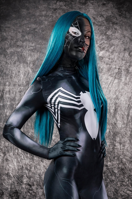 Womens Venom Halloween Costume - Sexy Superhero Venom Spider Costume for Women