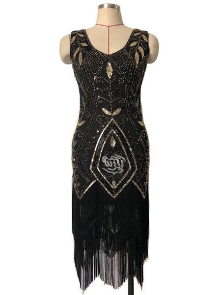 Milanoo Women's Flapper Dress 1920s Great Gatsby Sequins Fringe Dress Vintage 20s Party Dress Halloween
