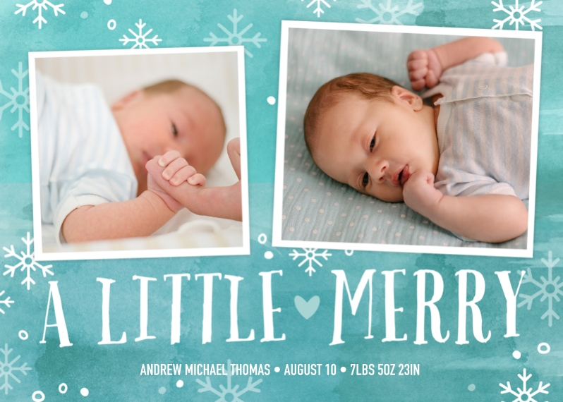 Newborn 5x7 Folded Cards, Premium Cardstock 120lb, Card & Stationery -Our Little Merry Announcement