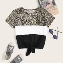 Girls Tie Hem Leopard Colorblock Tee