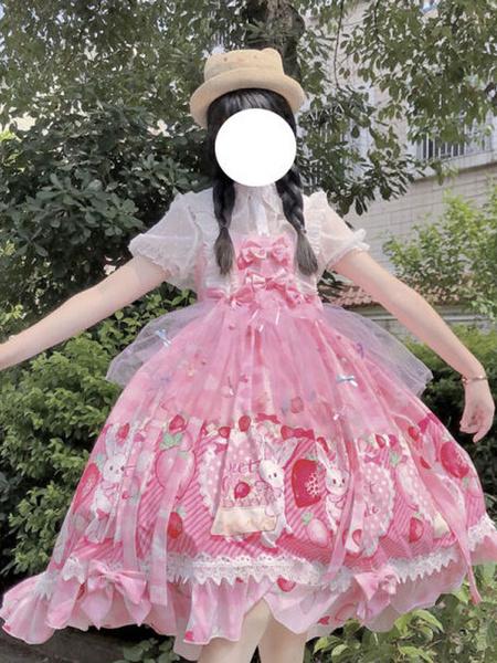 Milanoo Sweet Lolita JSK Dress Picnicbunny Bows Lolita Jumper Skirts