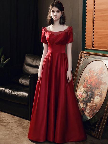 Milanoo Evening Dress A-Line Jewel Neck Matte Satin Floor-Length Pleated Prom Dress