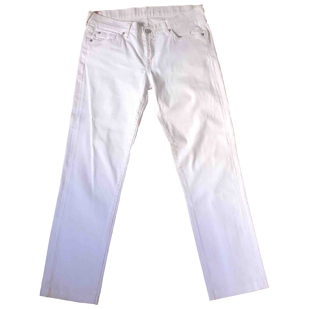 7 For All Mankind \N White Cotton - elasthane Jeans for Women 29 US