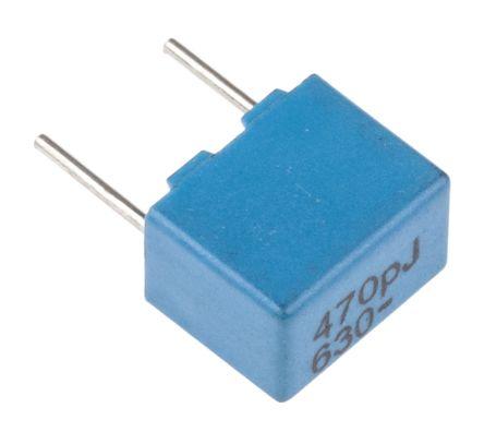 KEMET 470pF Polypropylene Capacitor PP 250 V ac, 630 V dc ±5% Tolerance Through Hole PFR510 Series (5)