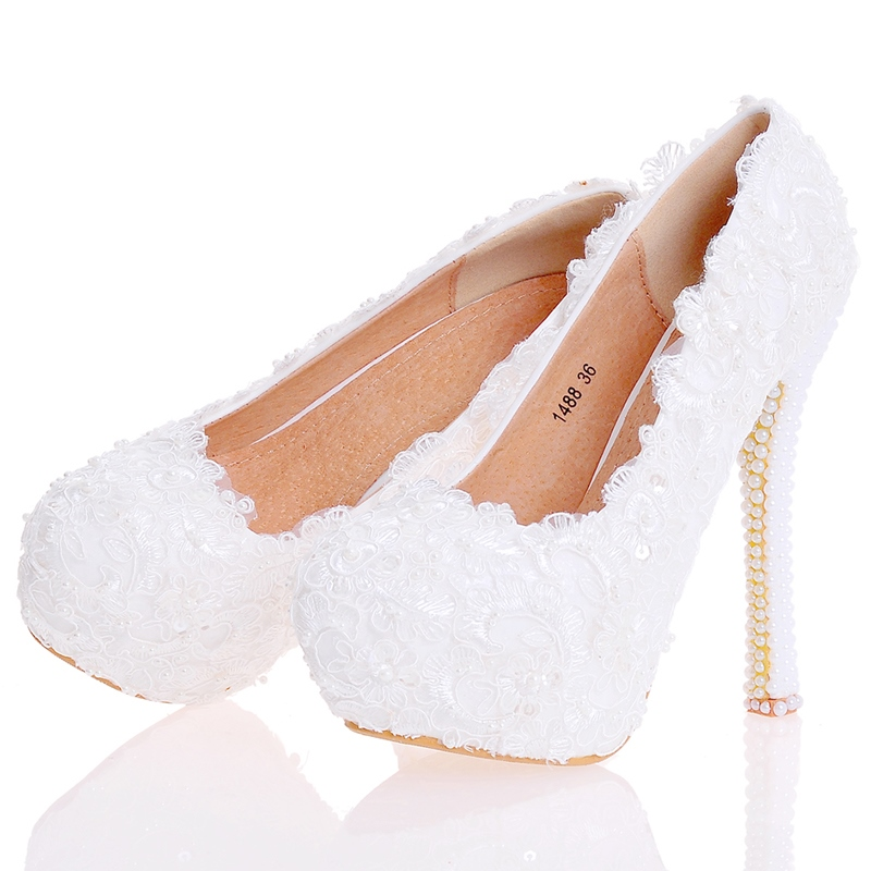 Ericdress Beads Platform Stiletto Heel Round Toe Wedding Shoes