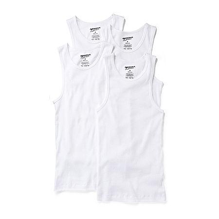 Arizona Boys 4 Pack Scoop Neck Tank, Small , White