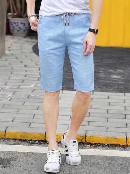 Milanoo Men Casual Shorts Linen Drawstring Elastic Waist Short Pants