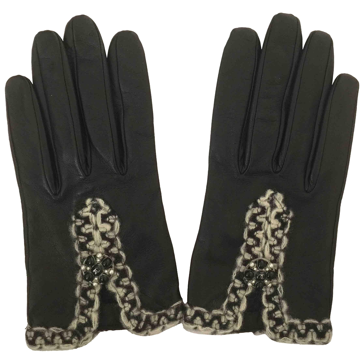 Chanel \N Black Leather Gloves for Women 7.5 Inches