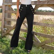 Buttoned Front Flare Leg Pants