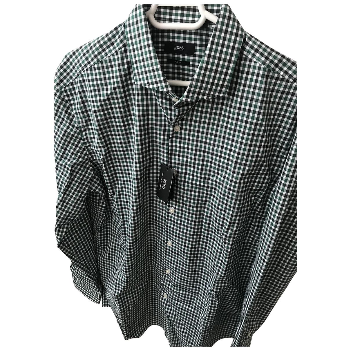 Boss \N Green Cotton Shirts for Men 44 EU (tour de cou / collar)