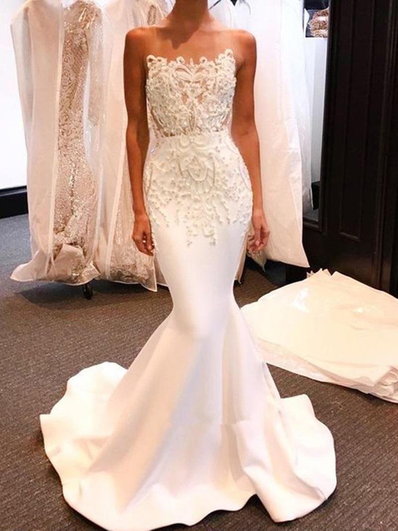 Ericdress Strapless Beading Appliques Mermaid Wedding Dress