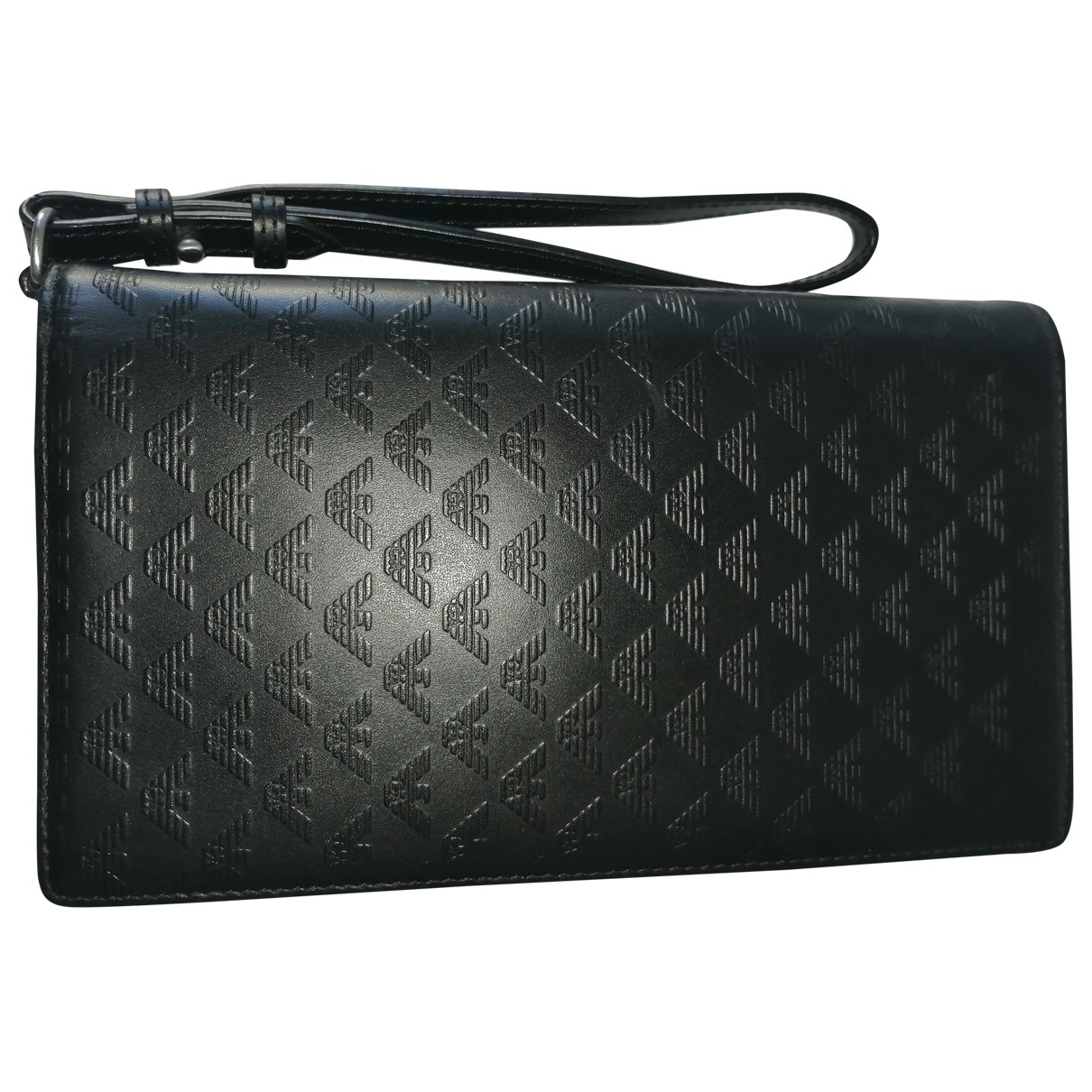 Emporio Armani \N Black Leather Small bag, wallet & cases for Men \N